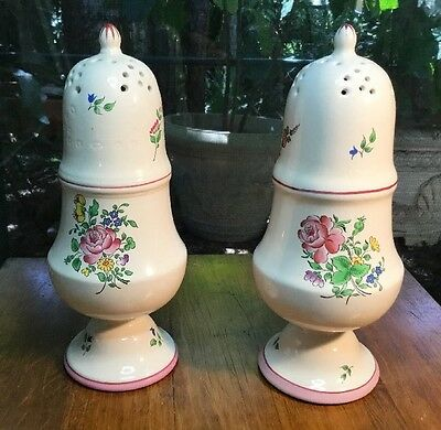 Vintage Pair of French Luneville K&G Sugar & Cheese Shakers