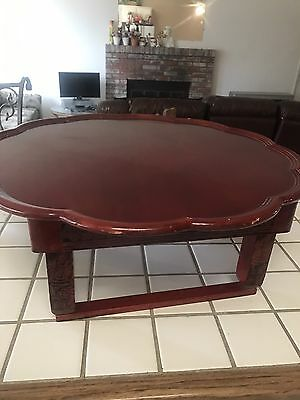 Vintage/Antique?Oriental Chinese Type Lacquer Painted Folding  Table
