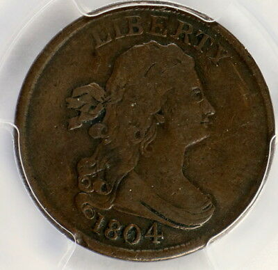 1804 Draped Bust Half Cent 1/2C SPIKED CHIN  PCGS VF-25 Certified Graded #8124