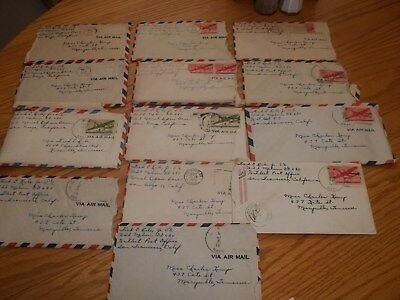 Vintage 1940's Love Letters And Envelopes Stamped Air Mail-Lot Of 13