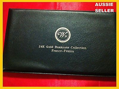 5 France Gold Rare  Banknote Album 24Kt 99.9% Francs Bank Note+ Coa