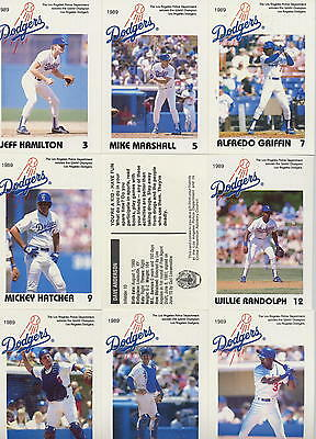 Los Angeles Dodgers 1989 Complete set Police Department Baseball cards