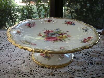 """Hammersley England LADY PATRICIA Heavy Gold Hand Painted 9""""x 3"""" Torte Cake Stand"""