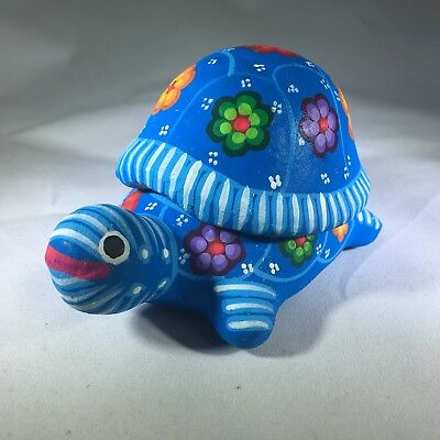 Hand Painted Turtle - Terra Cotta Mexican Pottery - Box with Lid - FREE SHIPPING