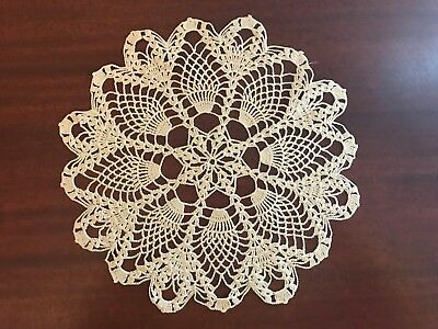 """Old Vintage Off White/Cream Crochet Lace Pineapple Doily 11"""""""