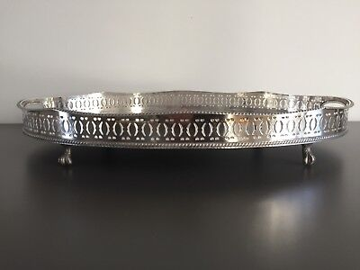 Silver Plated On Copper Large Oval Drinks Tray Sheffield Allander