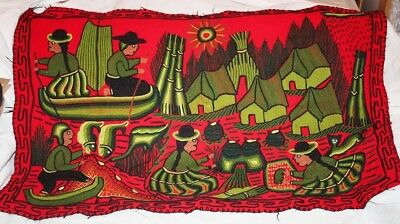 Isla Los Uros Red Wool Tapestry Wall Hanging Crewel Embroidered Peru 26 x 39