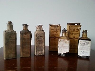 Lot of 5 ANTIQUE BOTTLES/BOX-QUACK MEDICINES