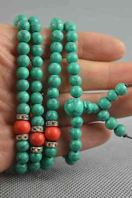 Collectable Handmade Turqupise Carve Pray Buddha Bead ExorcIsm Lucky Necklace