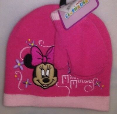 ab0d689793114 Toddlers 2 Pc Set 1 Hat 1 Pr Mittens 1 Size Fits Most Disney Minnie Mouse