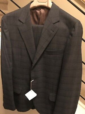 NWT $4000 Brunello Cucinelli Wool Suit - Gray Plaid Size 40