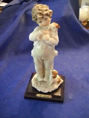 Bruno B Merli  Capodimonte  Boy with Puppies Dogs Figurine on Wood Base - Signed