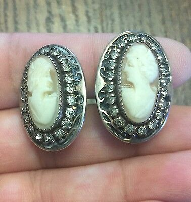 Vintage Sterling Silver Rhinestone Shell Lady Cameo Big Oval Screw On Earrings