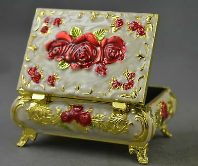 Collectable Handmade Cloisonne Carve Delicate Flower Moral Auspicious Jewel Box
