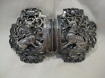 Antique Ornate Sterling Silver Handmade Chinese Belt Buckle