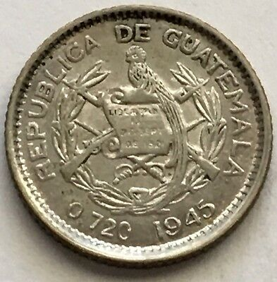 1945 Guatemala 5 Centavos Silver Coin (L395)