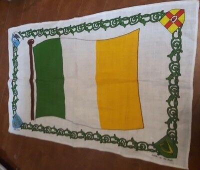 VTG Irish Linen Ireland Flag tea towel cloth Made in Ireland 19x30