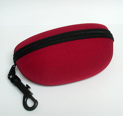 Sunglasses Hard Canvas Case - Zippered with clip hanger - Red