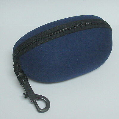 Sunglasses Hard Canvas Case - Zippered with clip hanger - Navy Blue