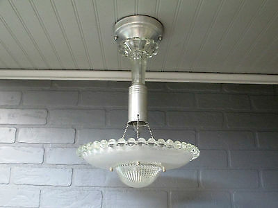 "Vintage Antique Art Deco Semi Flush Mount Ceiling Light Fixture Hobnail 18"" Long"