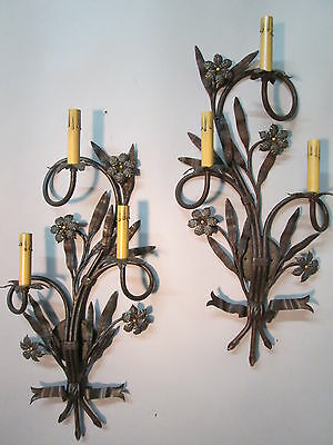 "Vintage Antique Large Pair Hand Wrought Iron Wall Sconces 28"" by 12"""