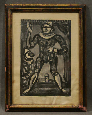"""Early 20th Century Surrealism Watercolor Etching """"Court Jester"""" dated 1932"""