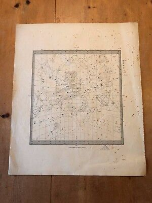 """HUGE 1830 18"""" x 15"""" LETTS, SON & CO ASTROLOGY ASTRONOMY CONSTELLATION CHART MAP"""