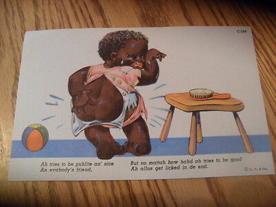 Vintage Black Americana Post Card Children Kids