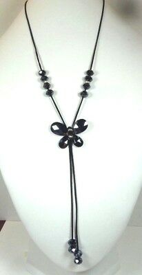 Vintage Black Faceted Glass Clear Rhinestone Pendant Tassel Necklace
