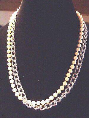 Vintage Faux Pearl Silver Tone Chain Necklace Signed