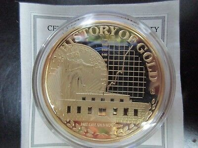 FORT KNOX GOLD VAULT COMMERATIVE PROOF COIN 40mm 24k LAYERED + COA GOLD HISTORY