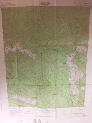 "Vintage 1943 Topographic Map Devils Heart Peak, Ca Quadrangle 21"" X 27"""