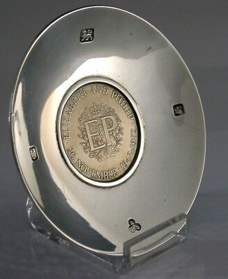 Hand Planished Solid Sterling Silver Royal Wedding Anniversary Coin Dish 1972