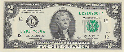 One - $2 TWO DOLLAR $2 BILL -  Uncirculated Consecutive 2013 San Francisco