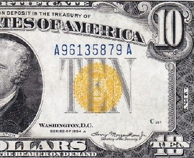 Awesome HIGH GRADE 1934 A $10 NORTH AFRICA Silver Cert.! FREE SHIP! A96135879A