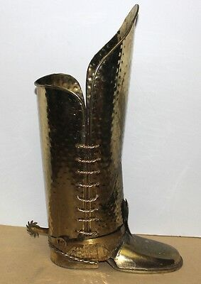"""hammered brass Coachman's or Cowboy Boot Umbrella Cane Stand 22"""" vintage MCM"""