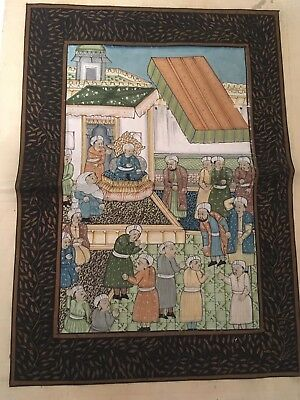 Vintage Handpainted Silk Pictures From India