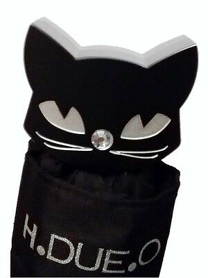 H.DUE.O 'Black Cat' Glitter Folding Umbrella with Cat Head Handle