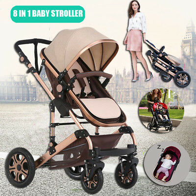 Newborn 8 in1 Pushchair Baby Kids Pram Stroller & Bassinet Travel System Jogger