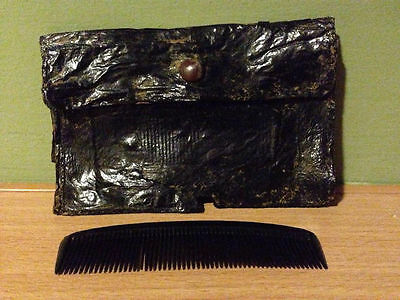 WW2 german Wehrmacht Luftwaffe soldier personal comb leather pouch original WH