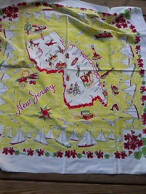 Vintage Cotton Tablecloth NEW JERSEY Kitschy Red Lime Green Sailboats Nice!