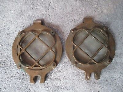 Vintage Pair of Bronze Round Porthole Covers with Screens. Nautical Antique.