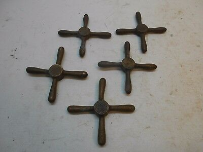 "5 vintage brass valve faucet handles 4"" x 4"" W crafts plumbing shipping US $8.00"