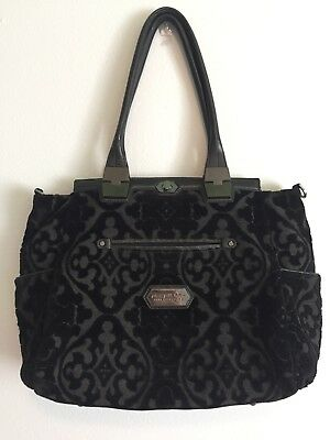 Petunia Pickle Bottom Cafe Carryall in Black Velvet Trifle Cake Purse Diaper Bag