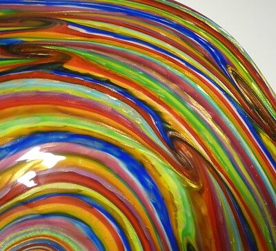 Hand Blown Glass Art Wall Bowl Platter, Dirwood, Red, Blue, Green, Gold, Purple