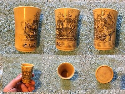 SCRIMSHAW CUP NAUTICAL SHIP USS. CONSTITUTION War Of 1812 NAVAL BATTLE cow Horn