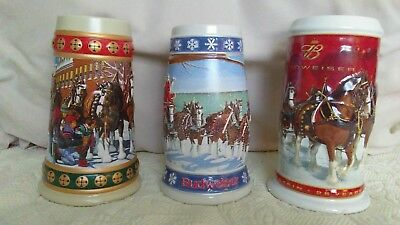 Budweiser holiday stein collection, Three Iconic Scenes of Christmas Past