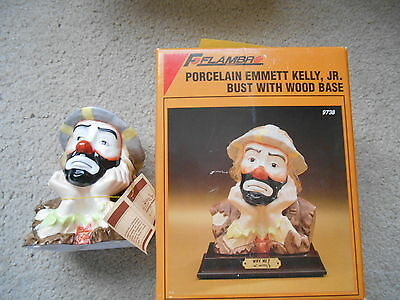 F Flambra Porcelain Emmett Kelly Jr. bust with wood base.  Why Me.  NEW in box