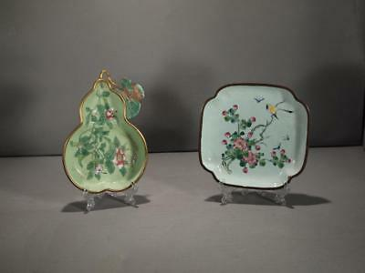 Two Chinese Canton Enamel Trays