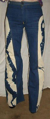 True VINTAGE Men's Antonio Guiseppe Tie Dye Hiphugger Bell Botton Jeans Size 28